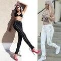 Mulheres Lace up Side Escavar Lápis Calças Apertadas Sexy Cruz Bandage Calças Kendall Jenner Bolso da Calça Jeans Skinny Slim