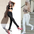 Women Side Lace up Hollow Out Pencil Tight Pants Sexy Cross Bandage Trousers Kendall Jenner Skinny Jeans Slim Pocket Pants
