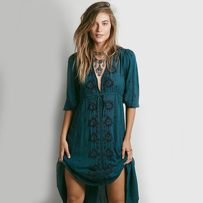 Khale Yose Cotton Summer Dress Long Sleeve Floral Embroidery Bohemian Dresses For Women Etnik Hippie Chic Style Beach Clothing