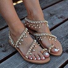 Women's Fashion Vintage Boho Sandals Leather Beading Flat Sandals Women Bohimia Beach Sandals Shoes Plus Size fashion women boho sandals leather flat sandals ladies shoes indoor