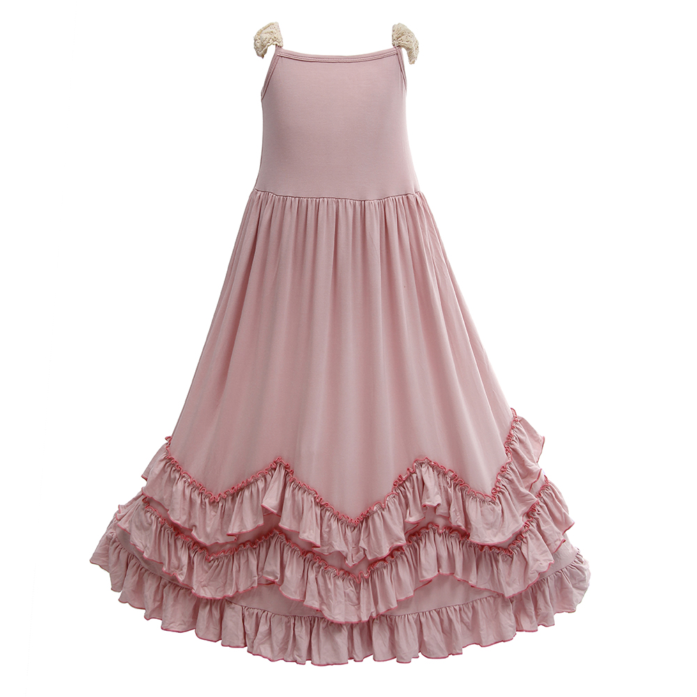 Princes Baby Girls Ruffles Pink Maxi Cotton Dress Lace Sleeve Candy Fashion Kids Holiday Dance Party Dress for 1-9 Years Old недорго, оригинальная цена