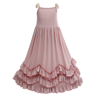New Baby Girls Maxi Ruffles Pink Dress Lace Sleeve Candy Fashion Princess Party Dress Retail By