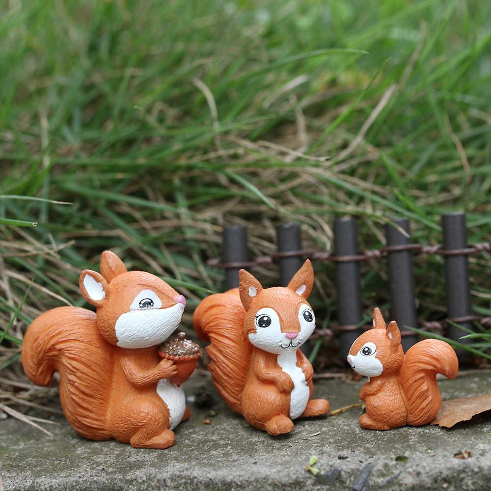 Micro Paesaggio Fairy Garden Piccolo Modello Scoiattolo Figurine In Miniatura Scoiattolo Animale Figurine Ornamento accessori per la casa arredamento