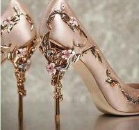 2018 Роскошные Брендовые женские туфли лодочки с цветком на каблуке, свадебные туфли, женские элегантные шелковые туфли на высоком каблуке, ж
