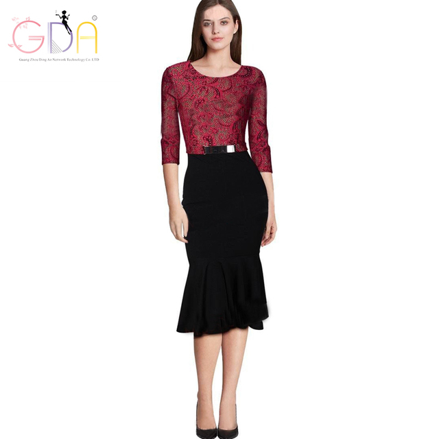 Gda 2016 New Women Runway Dress Autumn Winter Red Lace Golden Belt Trumpet Lady Party