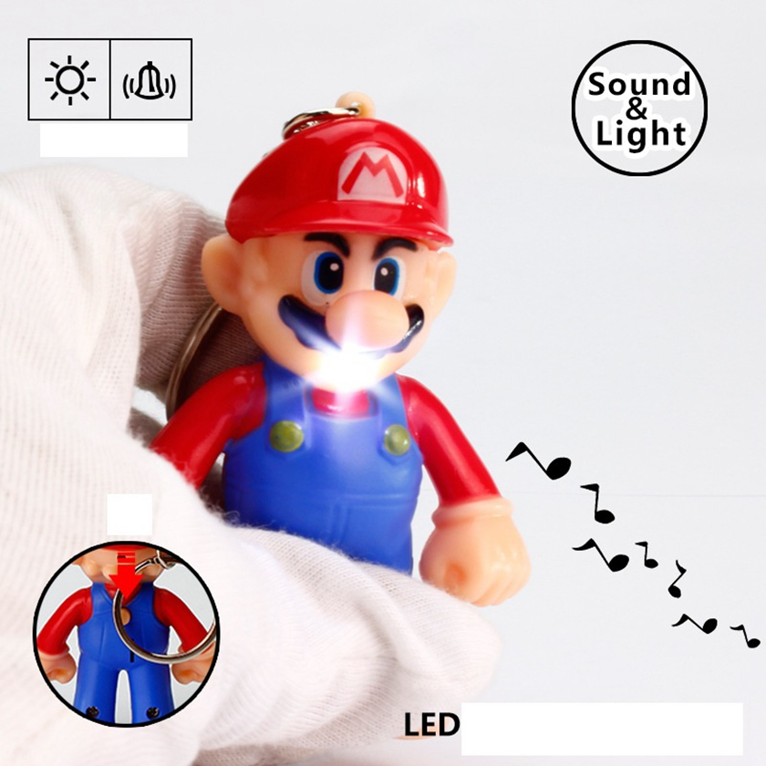 Hot sale 1PCS 2018 New Game Super Mario Figures Light-up Sound PVC Mario Bros Mario Keychains Collectible Model Toys Gifts
