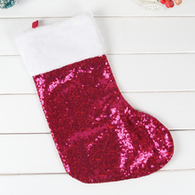 1 pcs/ Sequins large Christmas socks children tree decoration pendant Santa Claus candy bags gift