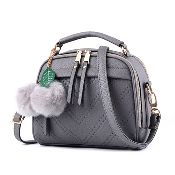 Women Messenger Bag PU Leather Solid Color Small Flap Bag Hairball Decoration Shoulder Bag Crossbody Bag Girls Clutches Purses