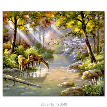 Hand-painted Mediterranean animal The Deer painting for the sitting room decorates a wall pictures painted on the canvas art фото