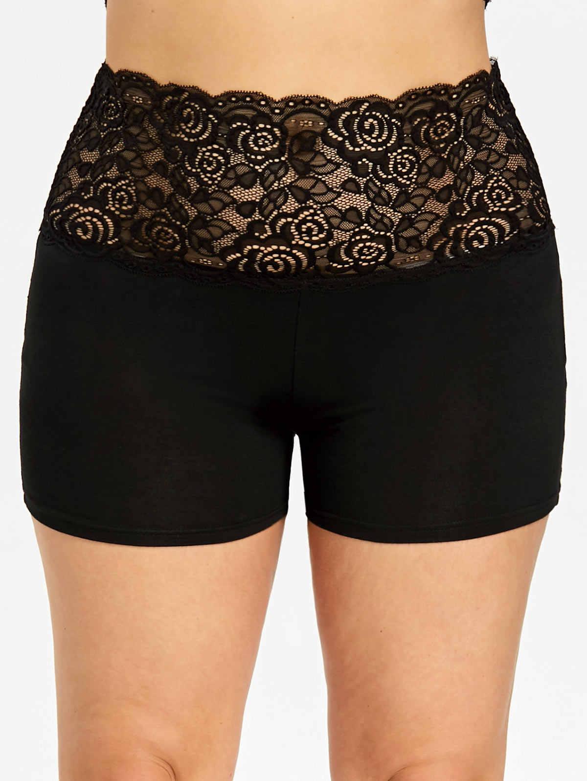 bc143b5309cb9 Gamiss Women Shorts Plus Size 5XL Lace Trim Scalloped Shorts Summer High  Elastic Waist Skinny Pencil