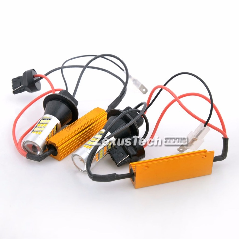 2x T20 7440 80w Led Dual Color White Amber Yellow Switchback Turn Signal Light Canbus Error Free Decoder Load Resistor W21w Resistor Array Resistor Ledresistor Kit Aliexpress