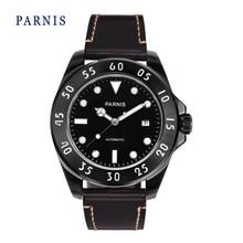 Мода 43 мм Parnis Черный Циферблат PVD Корпус Сапфировое Стекло Автоматическая Мужчины Наручные Часы Натуральная Кожа Группа Смотреть