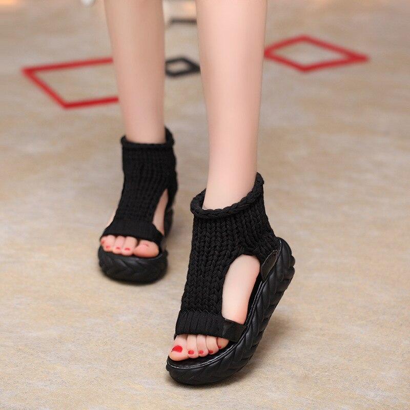 Вязаные сандалии, женские сандалии-гладиаторы на платформе, модная женская обувь, однотонные, повседневные, летние, на плоской подошве,, с открытым носком, вязаные вьетнамки - Цвет: black