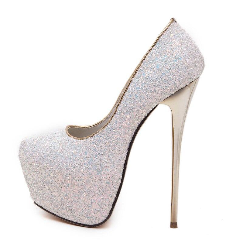 Rosa sexy bombea los zapatos del partido para las mujeres 16 cm Extreme  zapatos de tacón alto paillette plataforma tacones blanco bombas azul negro  tacones ... 43afc6d2c99e