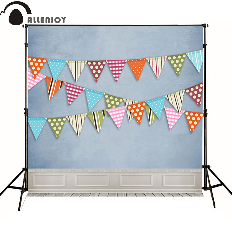 Allenjoy Photographic background wood blue flag dot line baby party photo background photography backdrops studio