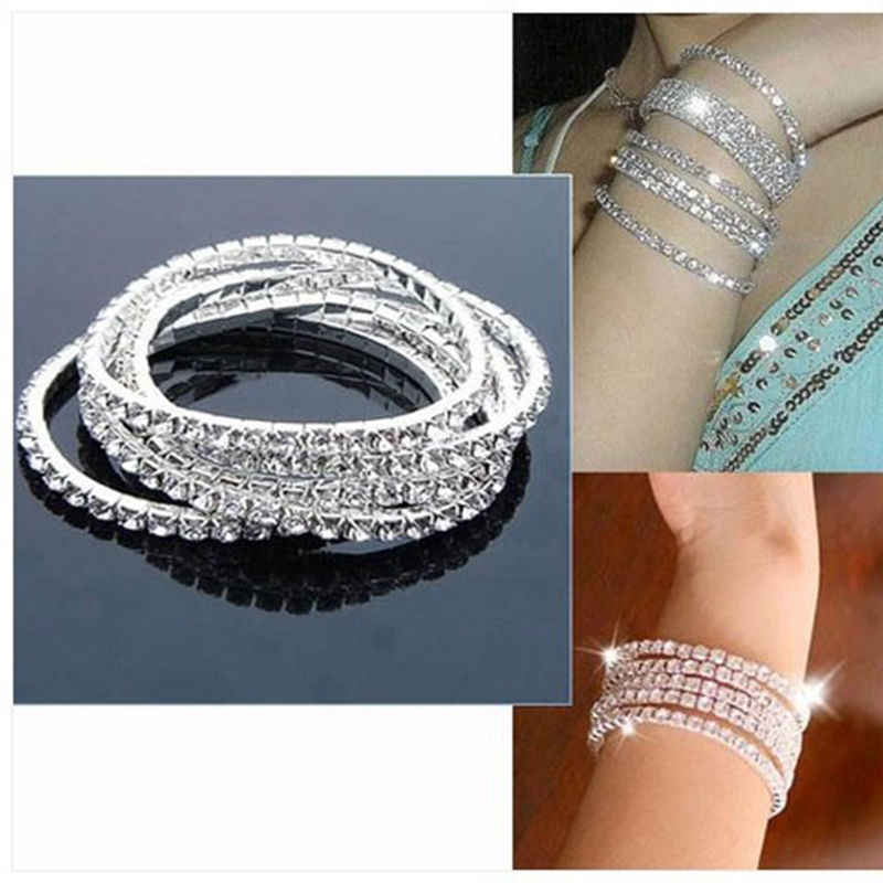 Brand New1 Row Crystal Bracelet Elastic Fashion Lady 's Lucky Bangle Top Sale Gift