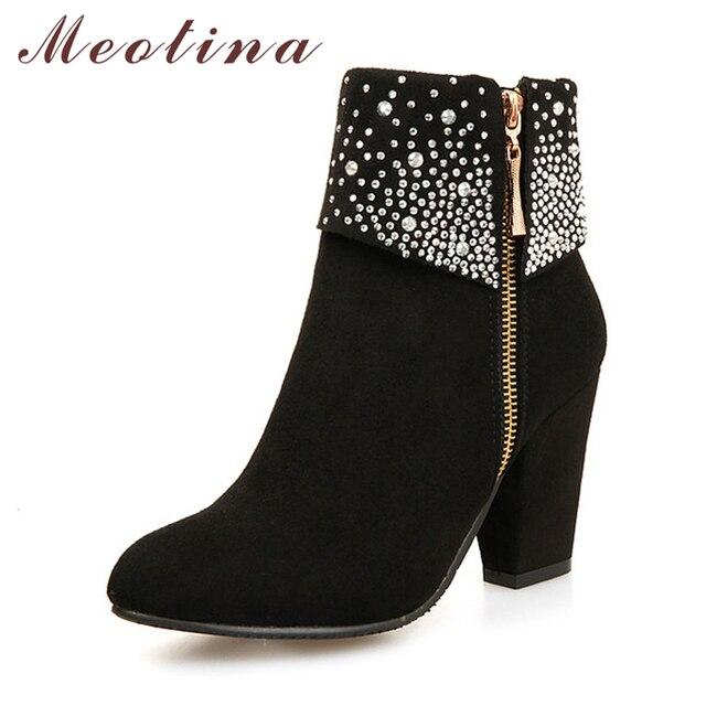 Meotina 冬の女性のブーツファッション厚いハイヒールブーツクリスタル秋のアンクルブーツ女性の靴ブルー赤ビッグサイズ 9 42 43