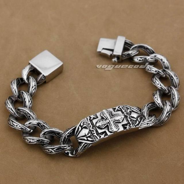 8 Lengths Solid 316L Stainless Steel Cross Mens Biker Bracelet 5C016