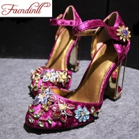 FACNDINLL Spring Summer Woman Rhinestone High Heels Shoes Wedding Shoes Bridal Red Purple Lace Platform Party