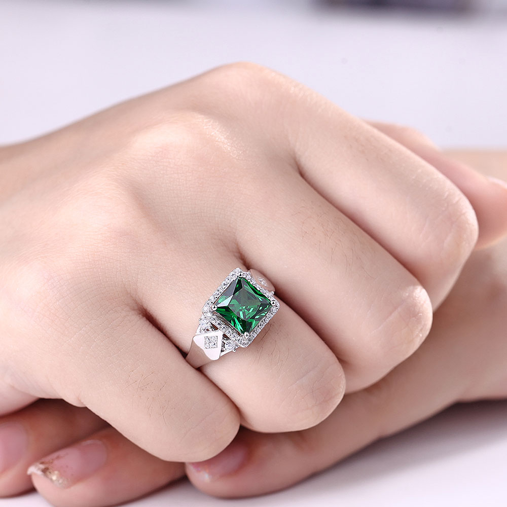 3.72ct Square Created Green Emerald 925 Sterling Silver Rings for Women Engagement Wedding Anniversary-in Rings from Jewelry & Accessories    2