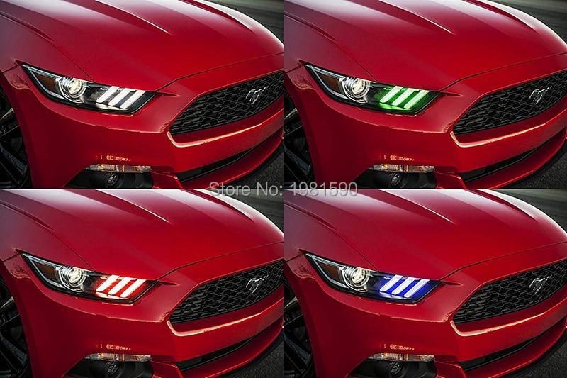 פורד 1SET RGBW LED DRL ערכות מנורה הדירקטוריון פורד מוסטנג 2,015--2,017 אורות רכב בשעות היום הפעלת אורות (3)