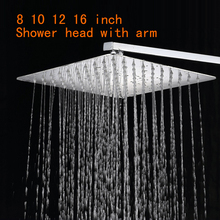 12 Stainless Steel Shower Head With Arm Wall Mounted Ultra thin Rain Shower Heads With 35cm Shower Arm free shipping CP-1212A