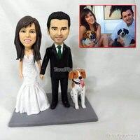 Свадебный торт Топпер Статуэтка пары с собакой ручной работы детская фигурка миниатюрная кукла статуя мини декоративная статуя супер геро