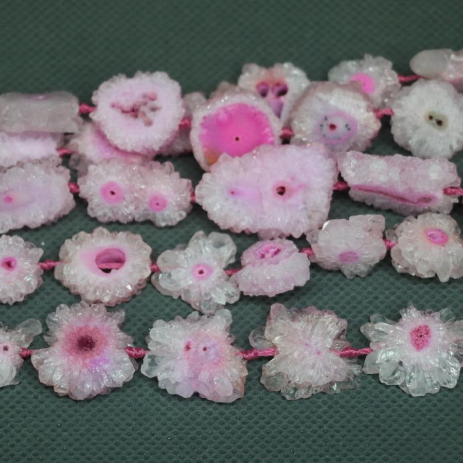 (KINDGEMS) bon rose Druzy cristal Quartz perles pendentif collier, femmes connecteur accessoires popularité bijoux européens