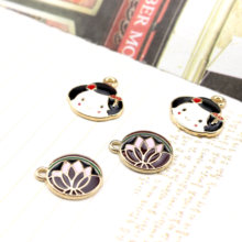 Korea Alloy Round Flower Earrings for Women Material Bracelet Necklace Pendant For Girls Children Kids DIY jewelry accessories(China)