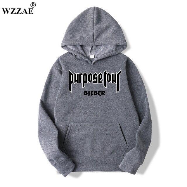 2020 Justin Bieber Poster Hip Hop Sweat Homme Hoodie Hooded Man Letters Justin Bieber Purpose Tour Streetwear Gray Black Hoodies 4