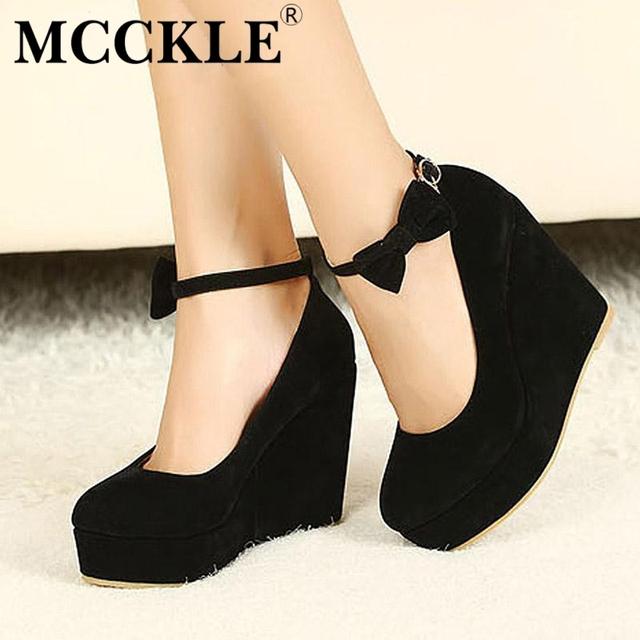 Mcckle mulheres moda buckle calçados femininos cunhas da plataforma de salto alto preto bombas bowtie ocasional tenis feminino sapato feminino
