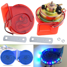 2pcs 12V Copper Coll 110DB Electric Horns Noisy Level Snail Horn with Article Lamp for Motorcycle Vehicle Car Truck Boat Truck 12v loud car auto truck electric vehicle horn snail horn sound level 110db