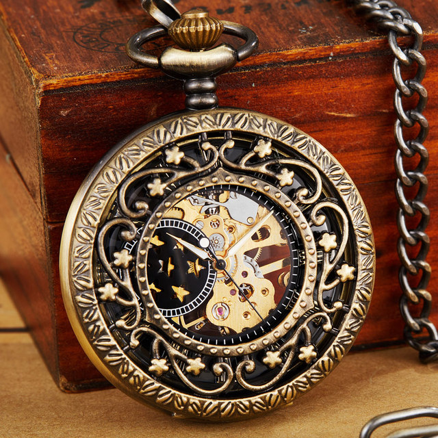 Vintage Steampunk Mechanical Pocket Watch Necklace Hand Wind Carved Hollow Fob C