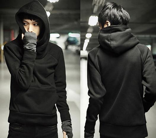 FREE SHIPPING Fashion Black Slim Fit Hooded Cotton Sweatshirts Plain Long  Sleeve Pullover Mens Casual Hoodies 012-140610005  4142233eb412