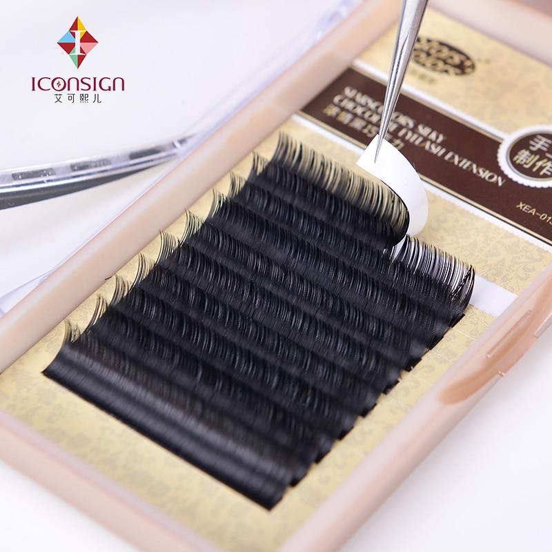 12 boxes/lot Natrual Silk J/C Curl 8-13mm False Eyelash Single 0.10/0.15mm Thickness Makeup Eyelash Cilia Extention