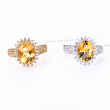 gemstone jewelry factory wholesale oval shape 925 sterling silver yellow citrine natural crystal ring women