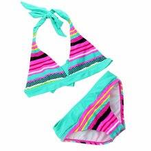 Детское летнее эластичное бикини в полоску для девочек купальник