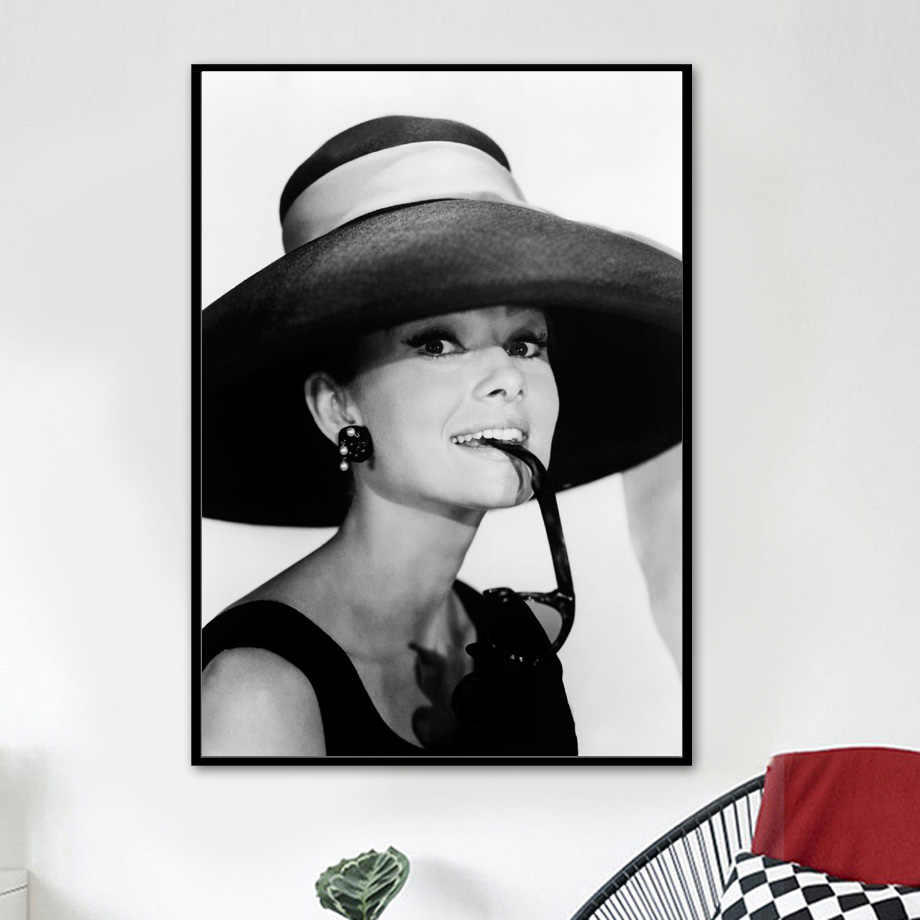 Black White Audrey Hepburn Wall Art Canvas Painting Nordic Posters And Prints Canvas Prints Wall Pictures For Living Room Decor