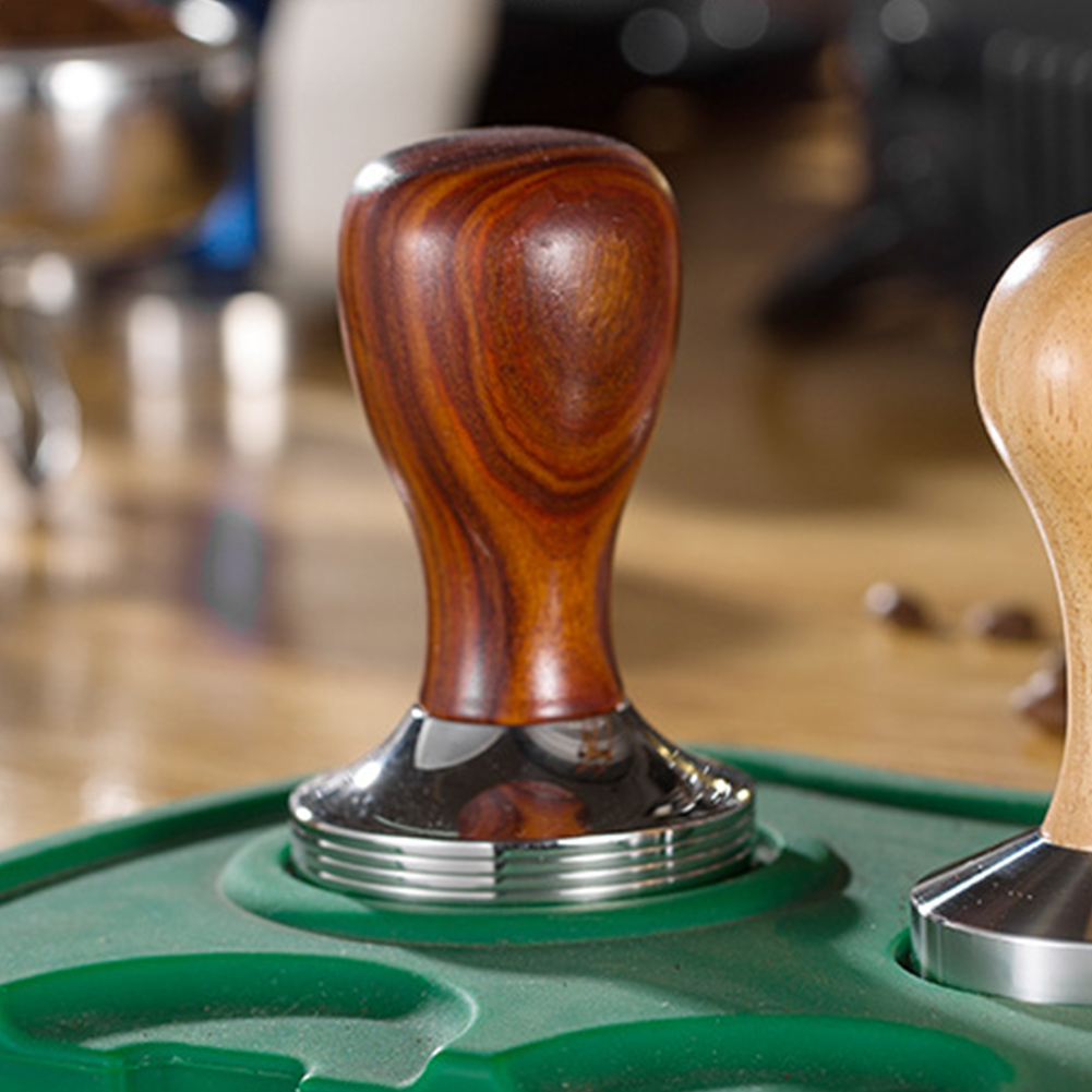 58mm Coffee Tamper Portable Plate Detachable Wooden Handle Base Stamping Powder Accessories Stainless Steel Kitchen Tools