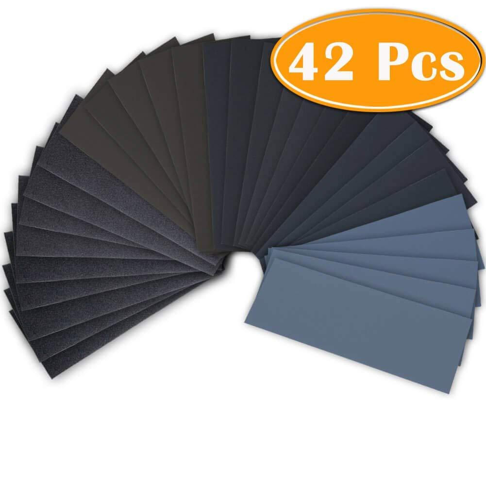 42 Pc papier abrasif sec humide 120 à 3000 grain assortiment feuilles de papier abrasif pour le ponçage automobile meubles en bois finition 23*9 cm