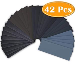 42Pc Wet Dry Sandpaper 120 To 3000 Grit Assortment Abrasive Paper Sheets For Automotive Sanding Wood Furniture Finishing 23*9 cm
