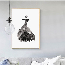 Minimalist Black White Dance Girl Canvas Art Print Poster, Wall Picture for Living Room Decoration, Hogar Decor Painting
