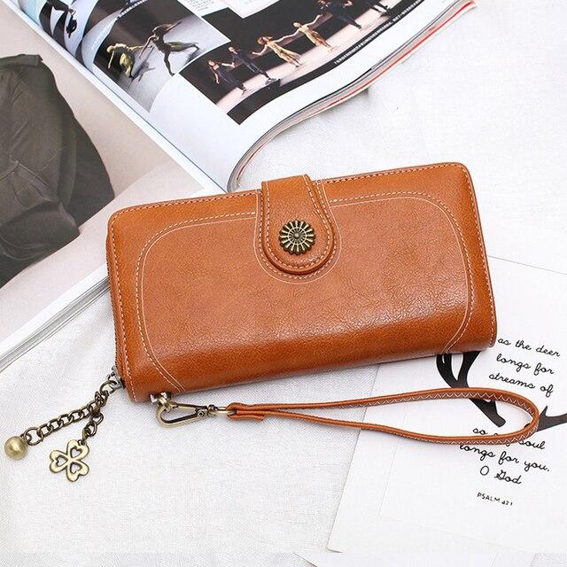 Wallet Women Female Clutch Purse Leather Long Wallet Phone Bag Coin Purse Card Holder Money Zipper Strap Multifunction 2019 1
