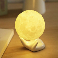 3D Print Simulation Moon Light LED Night Light Touch Control USB Charging Desk Lamp Bedroom Decorative