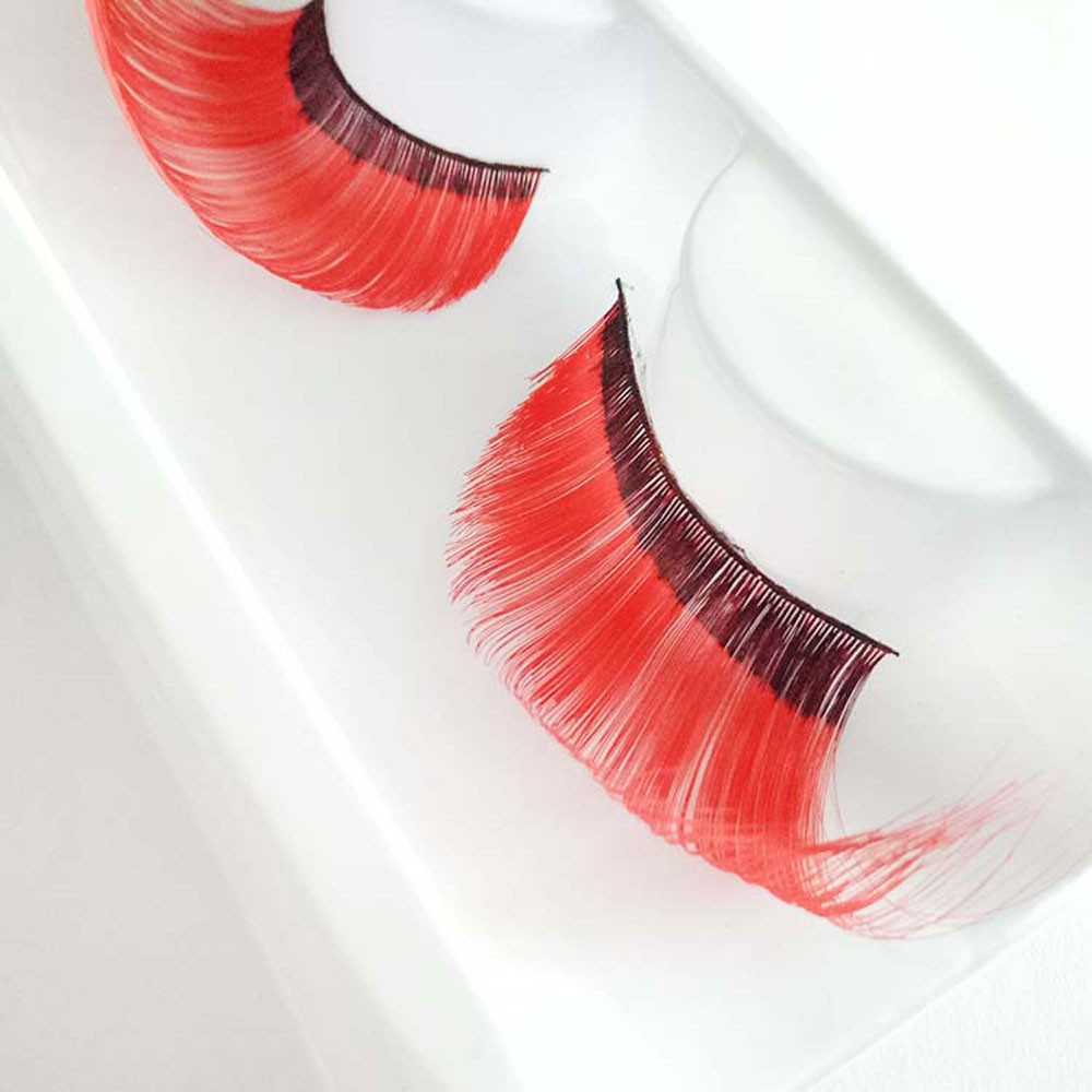 New Arrival False Eyelashes A pair Women s Halloween Party Party Makeup Art Red Wave False Eyelashes Women makeup Tool