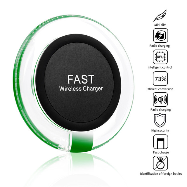 Round Qi Standard Wireless Fast Charger Charging Pad for Samsung Galaxy S6 Edge+ S7 Note 5 S7 Edge and All Qi-Enabled Device