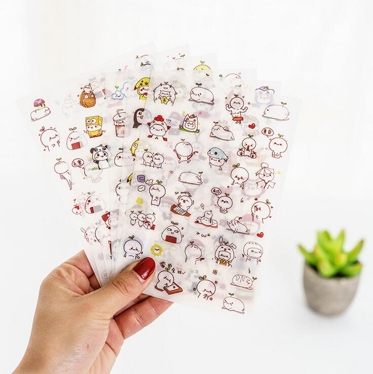 6 pcs/set Cute First Season White Pet With Grass Stickers Diary Sticker Scrapbook Decoration PVC Stationery Stickers fashion leaf pattern decorative front back pvc stickers set for iphone 6 4 7 grass green