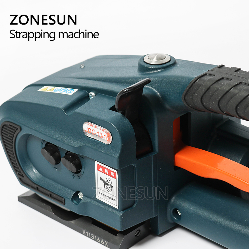 Image 2 - ZONESUN обвязочная машина для 13 мм 16 мм PET/ PP пластиковые ремни для аккумулятора 4.0A/12В JDC упаковочная машина с 2 батареямиОберточные машины    АлиЭкспресс