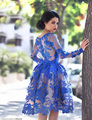 Real Royal Blue Ball Gown Cocktail Dress Short 2016 Knee Length Long Sleves Applique Flowers Party Dress Vestido Cocktel SC03