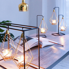 Candle-Holder Wedding-Centerpieces Geometric Home-Decoration Iron Gold-Glass Nordic-Style